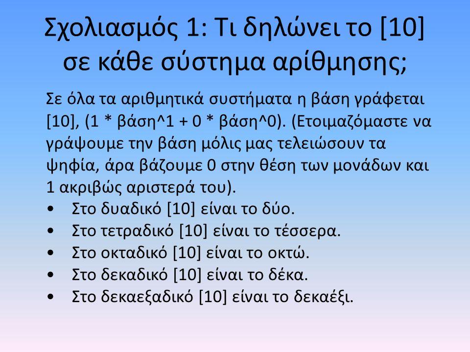Σχολιασμός 1: Τι δηλώνει το [10] σε κάθε σύστημα αρίθμησης;